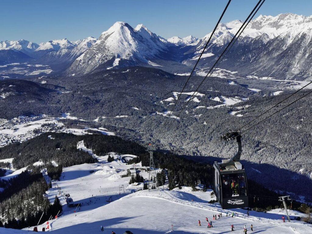 Skigebiet Rosshütte - das ist der Ausblick zum Wettersteingebirge